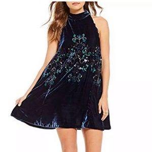 Free People Jills sequin swing dress in blue combo